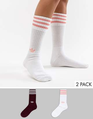 adidas Crew Sock Pack In White And MAroon