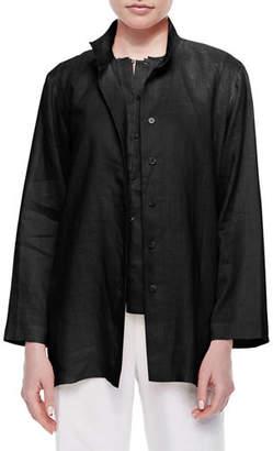 Go Silk Linen Button-Front Jacket, Plus Size