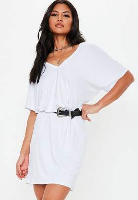 Missguided Tall White Wide V Neck T Shirt Dress