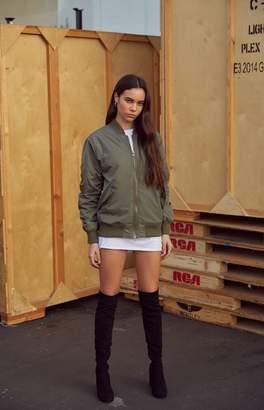 Kendall + Kylie Oversized Tartan Bomber Jacket