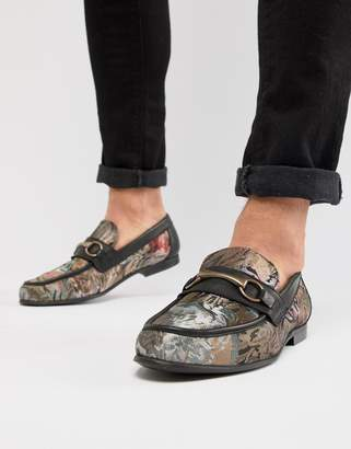Asos Design Loafers In Floral Print With Snaffle