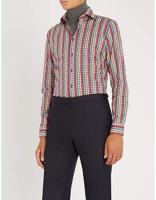 Richard James Patterned contemporary-fit cotton shirt
