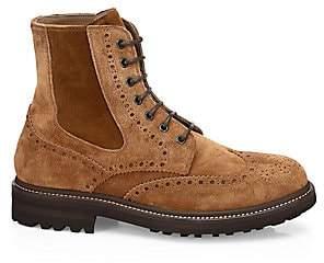 Brunello Cucinelli Men's Suede Lace-Up Boots