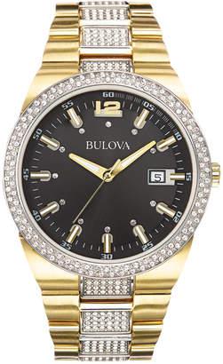 Bulova Men's Crystal Accent Gold-Tone Stainless Steel Bracelet Watch 43mm 98B235