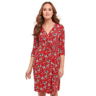 Joe Browns Red Floral Print Jersey 'Spontaneous' V-Neck Knee Length Wrap Dress
