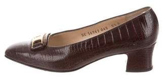 Salvatore Ferragamo Vintage Embossed Leather Pumps