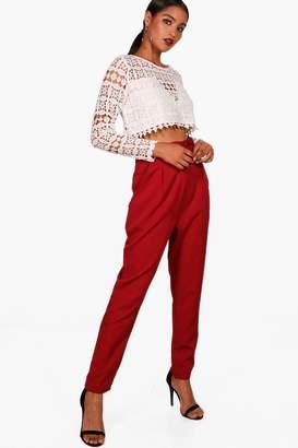 boohoo Premium Abi Lace Crop & Trouser Co-Ord Set