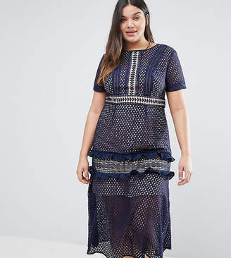 Truly You Tiered Premium Lace Midi Dress