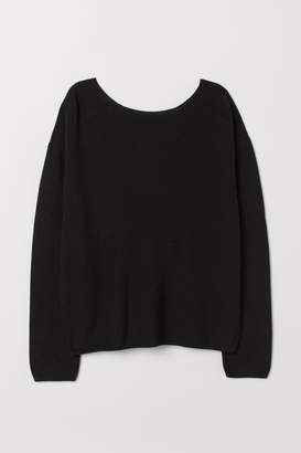 097a31dfcd H M Sweater with Low-cut Back - Black