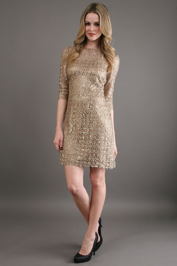 Kay Unger New York Sequin Lace Frock in Bronze