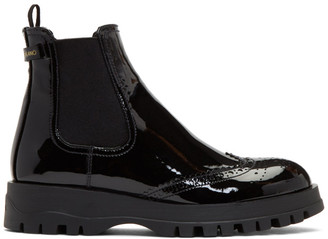 Prada Black Patent Oxford Chelsea Boots