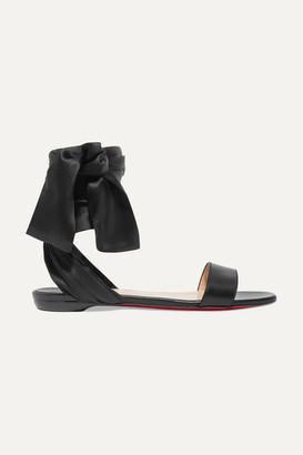 Christian Louboutin Sandale Du Desert Leather And Satin Sandals - Black