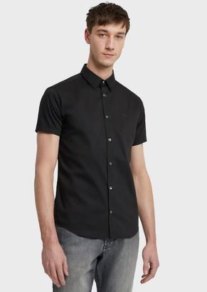 Emporio Armani Short-Sleeved Slim-Fit Poplin Shirt