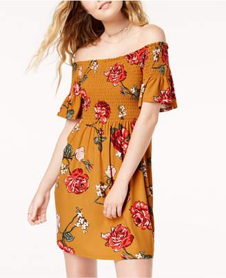 Planet Gold Juniors' Floral-Print Smocked Dress