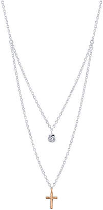 "Unwritten Two-Tone Cross and Cubic Zirconia Layered Pendant Necklace in Sterling Silver, 16"" + 2"" Extender"