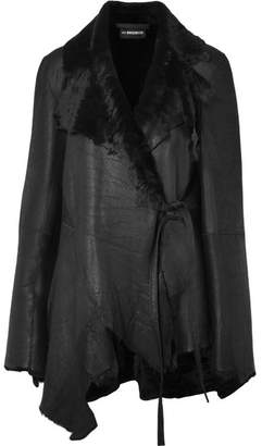Ann Demeulemeester Reversible Distressed Shearling Jacket - Black
