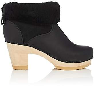 NO.6 Women's Shearling-Lined Leather Ankle Boots - Black