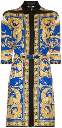 Versace Pillow Talk print silk shirt dress