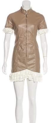 Dolce & Gabbana Short Sleeve Zip-Up Mini Dress
