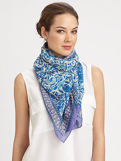 Tory Burch Akira Silk & Wool Floral Scarf
