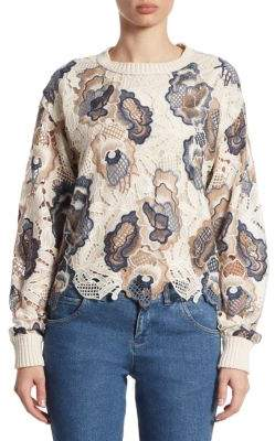See by Chloe Embroidered Lace Cotton Pullover