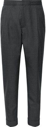Officine Generale Charcoal Drew Tapered Pleated Wool Trousers - Men - Gray
