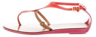 Sergio Rossi T-Strap Rubber Sandals