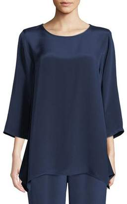 Caroline Rose Round-Neck 3/4-Sleeve Silk Crepe Swing Tunic Top