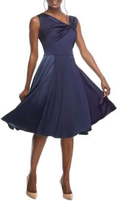 Gal Meets Glam Noelle Twist Neck Satin Dress (Regular & Petite) (Nordstrom Exclusive)