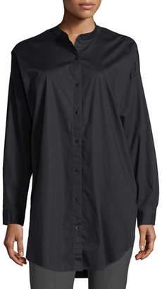 Eileen Fisher Mandarin-Collar Stretch-Lawn Button-Front Shirt