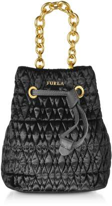 Furla Quilted Velvet Stacy Cometa Mini Drawstring Bucket Bag