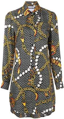 Moschino jewellery print shirt dress