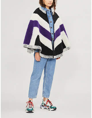 Maje Elby patterned wool-blend poncho