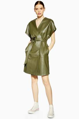Topshop Womens **Leather Wrap Dress By Boutique - Khaki