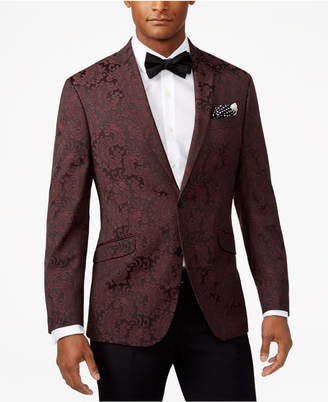 Kenneth Cole Reaction Men's Slim-Fit Burgundy Paisley Dinner Jacket $295 thestylecure.com