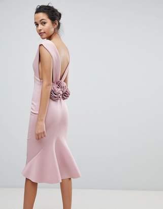 58d78846e9 Asos Design Deep Plunge Corsage Back Pephem Midi Bodycon Dress