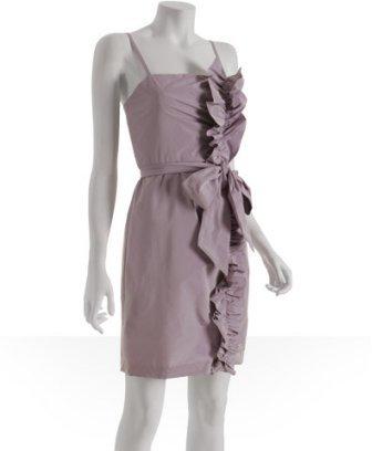 BCBGMAXAZRIA lavender poly taffeta ruffled detail dress