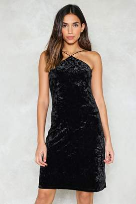 Nasty Gal Come to a Halter Velvet Dress