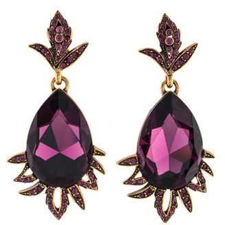 Oscar de la Renta Crystal Teardrop Leaf Drop Earrings