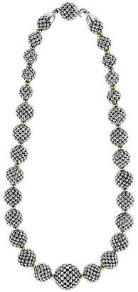 """Lagos Sterling Silver Caviar Necklace with 18K Gold, 17"""""""
