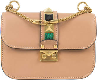 Valentino Shoulder Bag Glam Lock Stone and Stud Brown