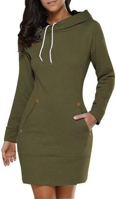 BIUBIU BUIBIU Women's Long Sleeve Cotton Slim Fit Midi Hoodie Dress with Pocket 2XL