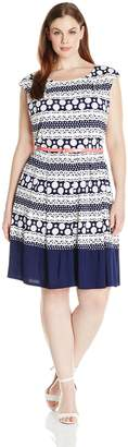 Tiana B Women's Plus-Size Puff Printed Knit Dress V-Neck Back Pleated Skirt, Navy/White, 20W