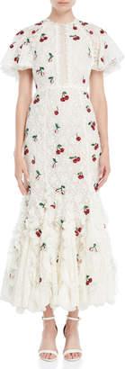 Giambattista Valli Sequin Cherry-Decorated Lace Gown