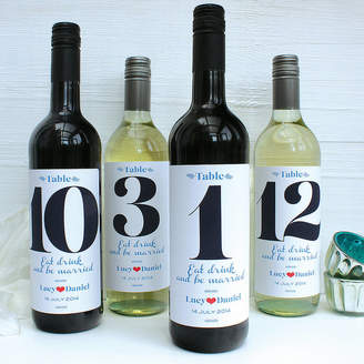 birdyhome Personalised Wedding Table Number Wine Labels