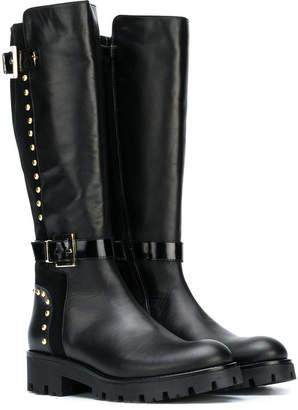 Cesare Paciotti Kids studded tall boots