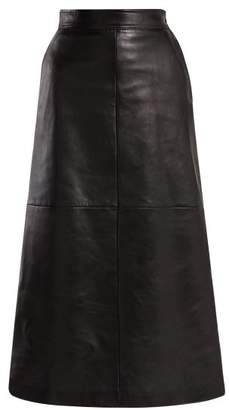 Saint Laurent - A Line Leather Midi Skirt - Womens - Black