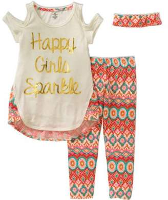 ONE STEP UP Girls' the Perfect Set up Graphic Print Fashion Top With Printed Legging and Matching Headband 3-Piece Set