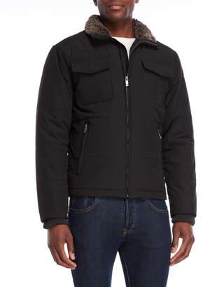Weatherproof Four-Pocket Faux Fur Collar Jacket