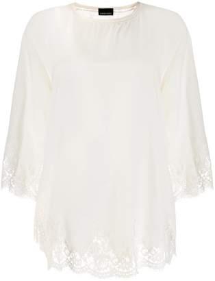 Ermanno Ermanno scalloped lace hem blouse